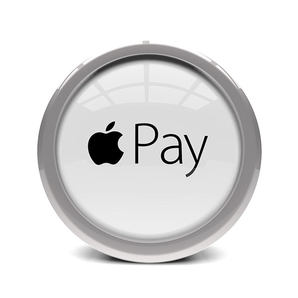 glass and metal disc displaying apple pay logo