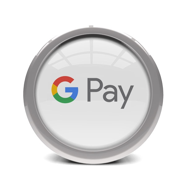 glass and metal disc displaying google pay logo