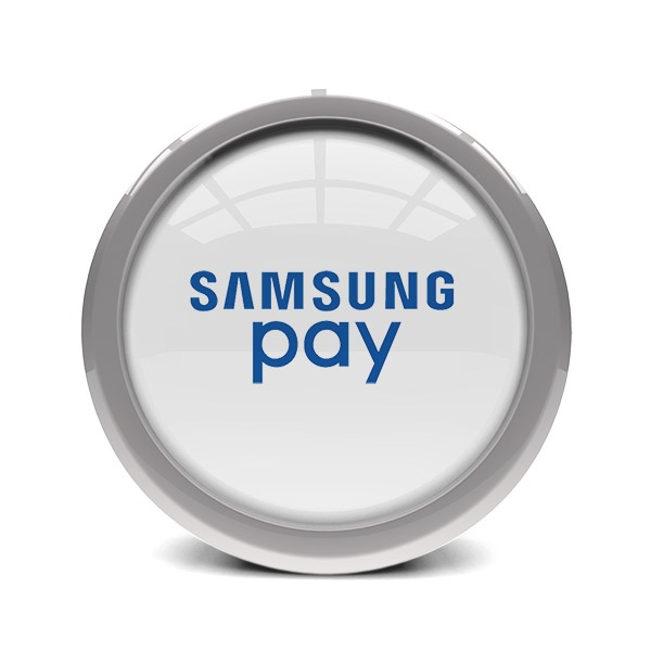 glass and metal disc displaying samsung pay logo