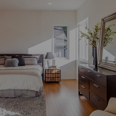 contemporary bedroom with large window