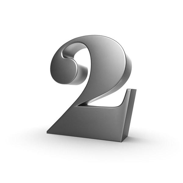 3d black number 2