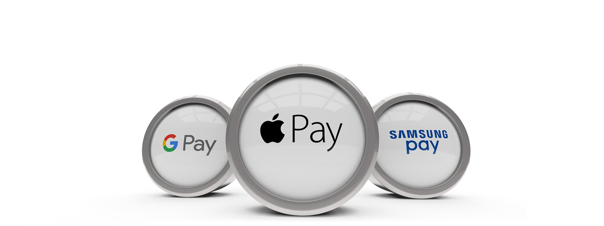 three metal and glass discs displaying google pay, apple pay, and samsung pay logos from left to right